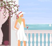 Mediterranean Vacation. Young woman enjoying the view from her hotel room balcony royalty free illustration
