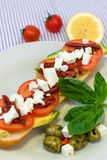 Mediterranean vegetable sandwich. With tomatoes, avocado, cheese and basil Stock Image