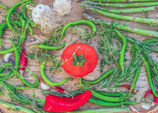 Mediterranean vegetable set consisting of garlic, tomato, fresh Stock Images