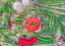 Mediterranean vegetable set consisting of garlic, tomato, fresh Stock Images