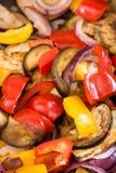 Mediterranean vegetables cooking in a pan. Close-up of mediterranean vegetables being cooked in a pan Royalty Free Stock Photo