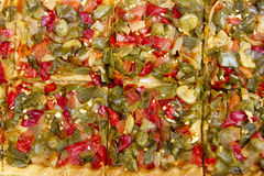 Mediterranean vegetables pizza tomato pepper Royalty Free Stock Photography