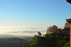 Mediterranean view Calahonda Spain. Hilltop view of fog over the Mediterranean Sea from the top of Sitio de Calahonda Spain on the Costa del Sol Stock Photography