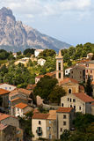 Mediterranean village. Village in the mountains of Corsica, France stock photo