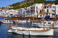 Mediterranean village and boats Stock Images