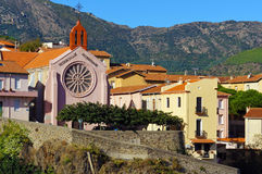 Mediterranean village of Cerbere and its church Stock Photo