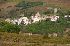 Mediterranean village with fields of vineyard. Mediterranean village of Cosprons and its vineyard fields, Roussillon, Vermilion coast, France royalty free stock photo