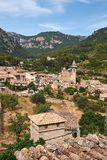 Mediterranean village in the Tramuntana mountains, view of Valldemossa, beautiful landscape of Majorca island Spain Stock Photography