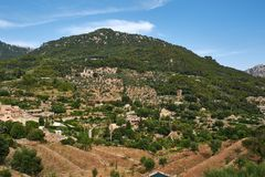 Mediterranean village in the Tramuntana mountains, view of Valldemossa, beautiful landscape of Majorca island Spain Stock Image