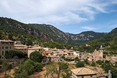 Mediterranean village in the Tramuntana mountains, view of Valldemossa, beautiful landscape of Majorca island Spain Royalty Free Stock Photography