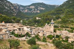 Mediterranean village in the Tramuntana mountains, view of Valldemossa, beautiful landscape of Majorca island Spain Royalty Free Stock Photo