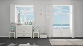 Mediterranean white and gray living, windows with sea panorama,. Summer hotel resort interior design Stock Photography