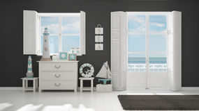 Mediterranean white and gray living, windows with sea panorama,. Summer hotel resort interior design Stock Images