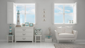 Mediterranean white living, panoramic windows, summer hotel reso Royalty Free Stock Photo