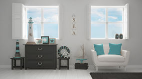 Mediterranean white living, panoramic windows, summer hotel reso Royalty Free Stock Images