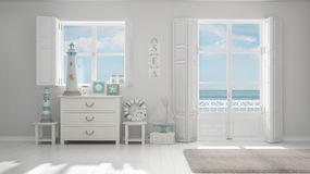Mediterranean white living, windows with sea panorama, summer ho. Tel resort interior design Royalty Free Stock Image