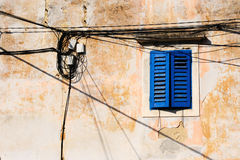Mediterranean Window And Cabling Royalty Free Stock Images
