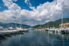 Mediterranean yacht marina full of luxury boats Stock Photo