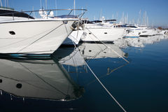 Mediterranean yachts. In Antibes harbor, France stock photo