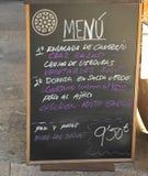 在马略卡的每日菜单, Mediterraneanand Mallorcan烹调在西班牙 免版税库存照片