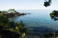 Mediterraneen sea and shores. View of Capelan peninsula, in Bandol of the Mediterraneen sea and french riviera shores Royalty Free Stock Photography