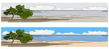 Mediterraneo und alleinbaumweb-Fahne Stockfotografie