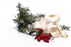 Mediterrannean ingredients. Garlic, red pepper and rosemary Stock Photos