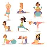 Meditieren auf der schwangeren meditierenden Mutterschaftsfrau, beim Sitzen von Yoga Lebensstil-Charaktervektor der Eignung gesun vektor abbildung