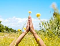 Meditieren auf einem Frühlingsgebiet Stockfotos