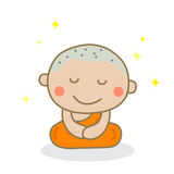 Meditierende Augen eines Mönchs geschlossen Lizenzfreies Stockfoto