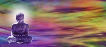 Meditierender Buddha-Websitetitel Stockfotografie