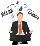 Meditierender und entspannender Geschäftsmann lizenzfreie abbildung