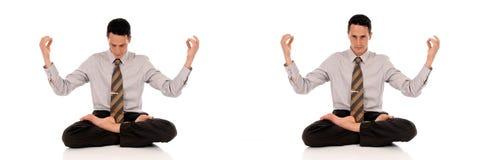 Meditierendes Yoga des Geschäftsmannes Stockbilder