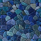 Medium blue colored marble irregular plastic stony mosaic pattern texture seamless background  Royalty Free Stock Image