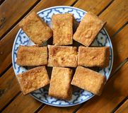 Gebratener Sojabohnenöl-Tofu stockbilder