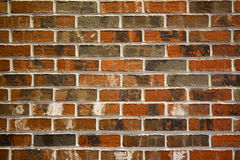 Multi-colored Brick Wall. Medium close up image of an antiqued red and multi-colored brick wall. The image shows the texture of the brick and mortar between the stock photo