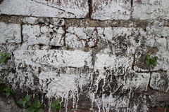 Medium close up of old brick wall at a former prison in Asia slo. Medium close up of an old brick wall at a former prison in Asia hastily and Stock Photos