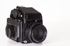 Medium format classic camera. Manufactured from 1975 to 1987. Offer a 6x4.5 cm frame, uses standard 120 roll film with interchangeable viewfinders and lenses Stock Photo