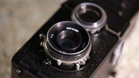 Medium format old film camera. Macro shot of medium format old film camera stock footage