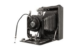Medium format retro camera on white backg Stock Photo