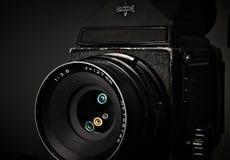 Medium Format Vintage SLR Camera. The Lighting Shows the Lens Multi Coating Colors Mamiya rb67 pro s Royalty Free Stock Photos