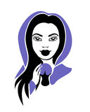 Medium girl with a crystal ball in violet mantle royalty free illustration