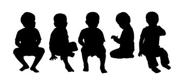 Medium group of children seated silhouette 4 Stock Image