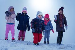 Medium group of  children standing in the snow. Medium group of  children standing and pose in the snow with open arms. Looking at camera. Space for copy. Small Royalty Free Stock Images