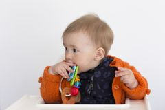 Medium horizontal shot of adorable fair toddler girl sitting in high chair in half profile holding colourful toy to her mouth. With concentrated expression stock photos