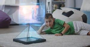 Child watching holographic animated movie