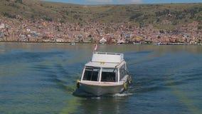 Sailing cruise boat at lake Titicaca, Puno, Peru