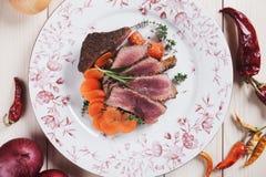 Medium rare beef pepper steak Stock Photos