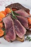Medium rare beef pepper steak Stock Photo