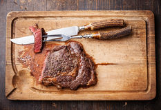 Medium rare Beef steak Ribeye Royalty Free Stock Photography